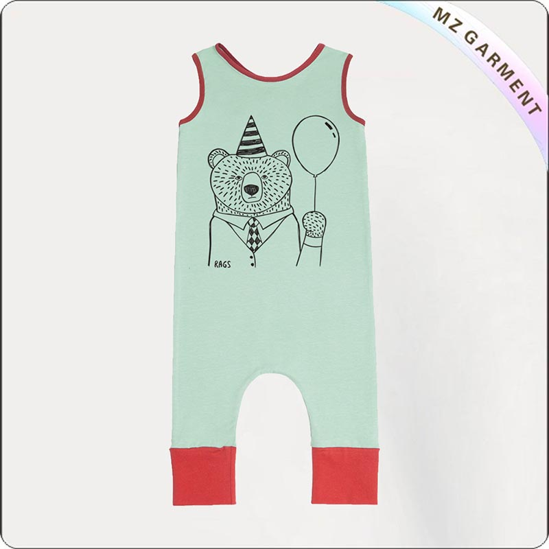 Boys Green Mint Organic Romper