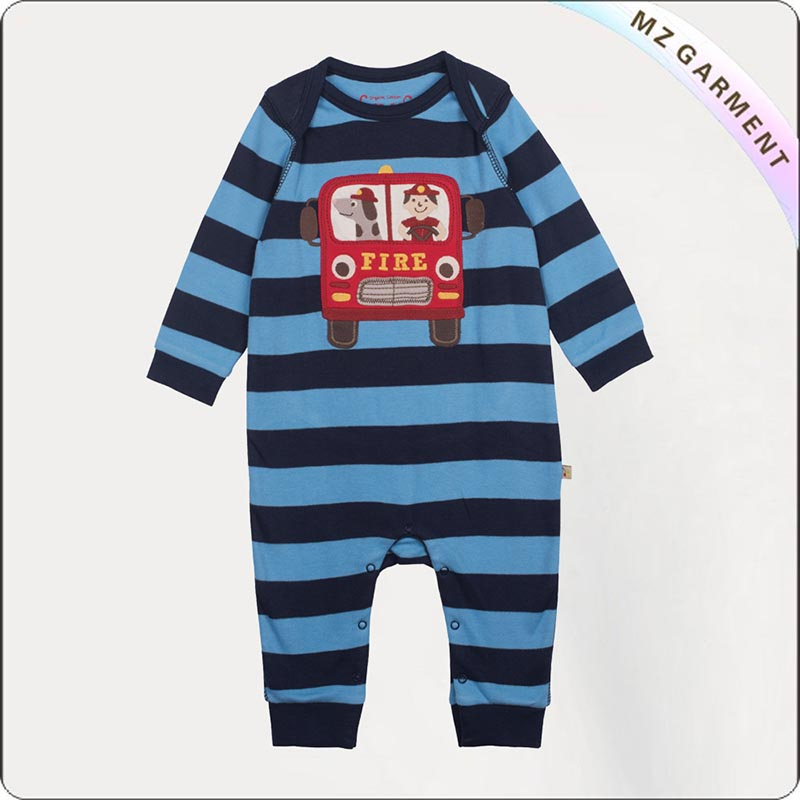 Boys Organic Cotton Fire Truck Snapsuit