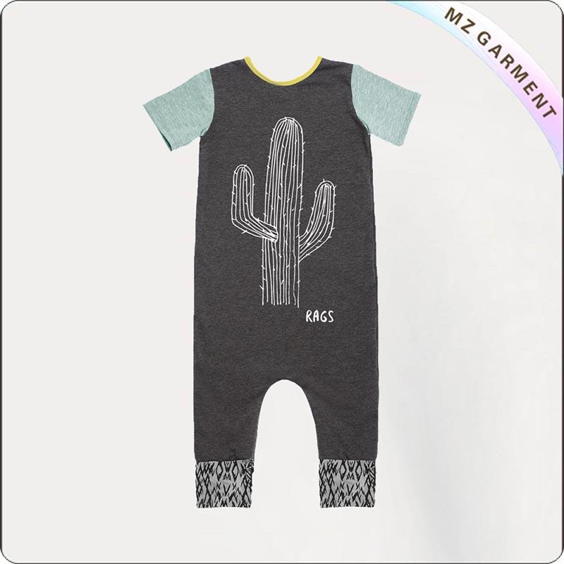 Children Organic Cactus Print Snapsuit