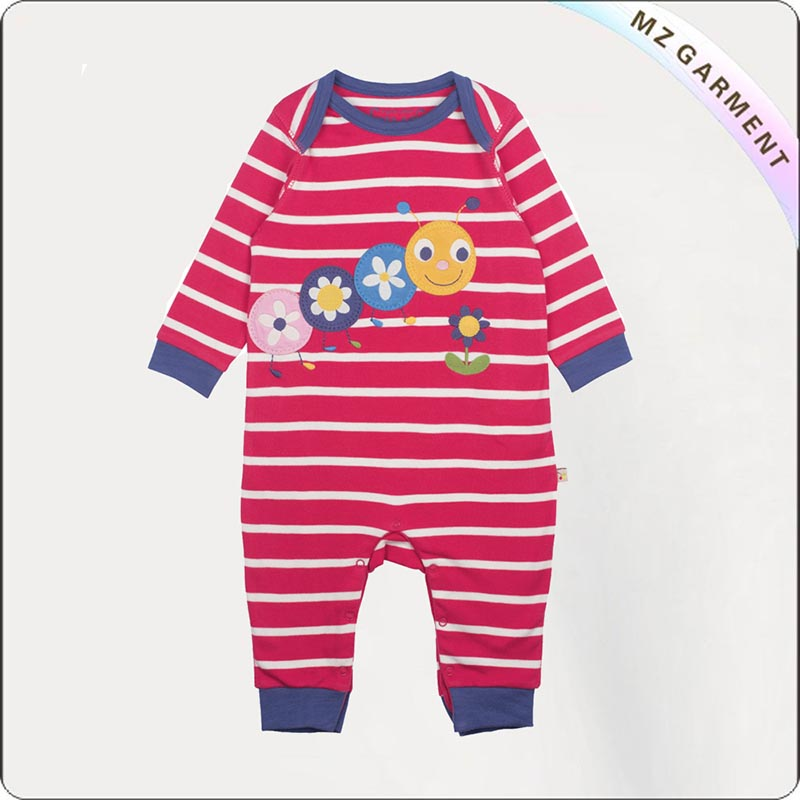 Kids Eco Fushia Stripe Snapsuit