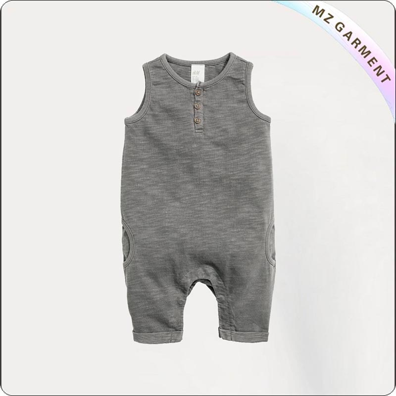 Kids Organic Cotton Grey Snapsuit