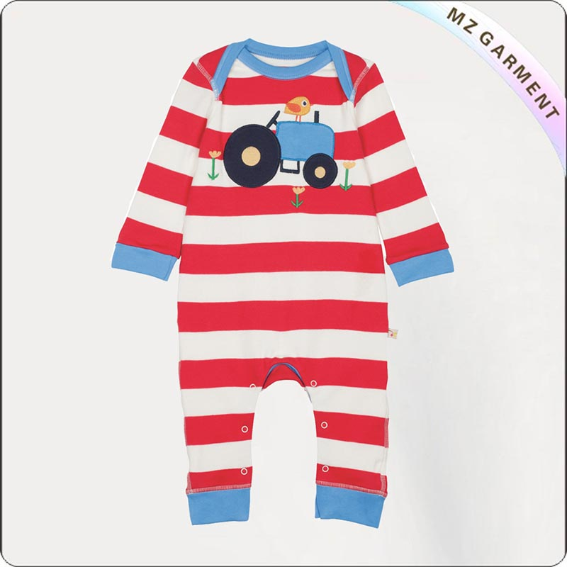 Longsleeve Romper with Tractor