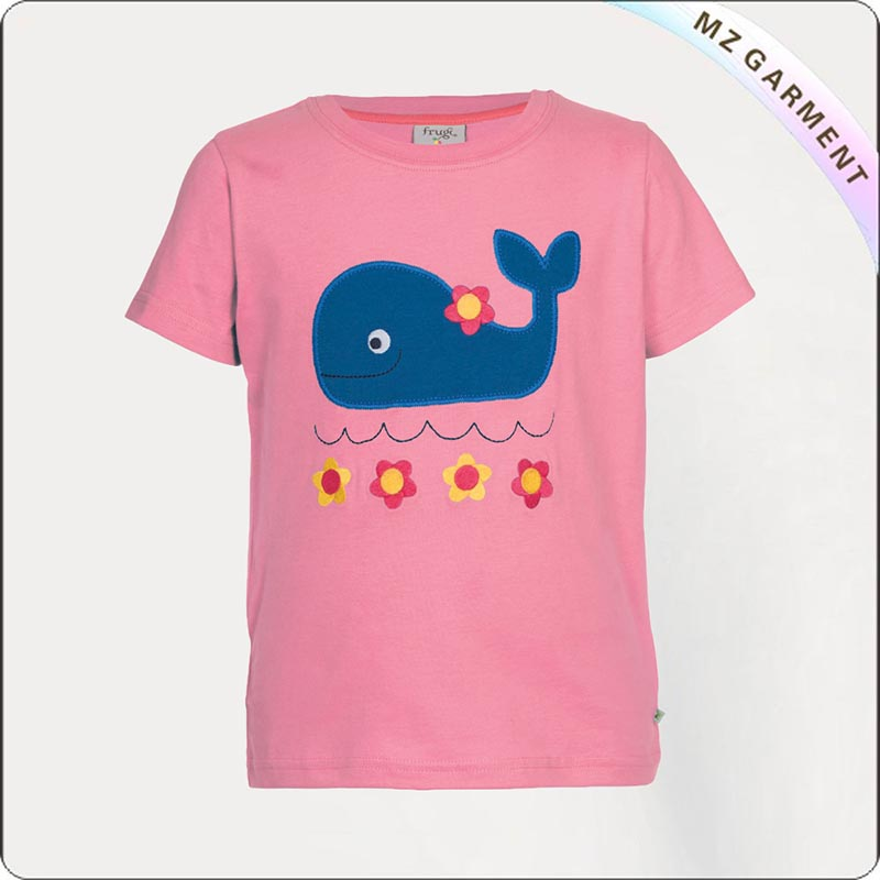 Girls Natural Blue Whale Tee