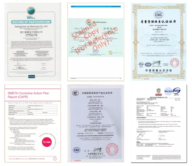 Certificate of Sunlin Playmats