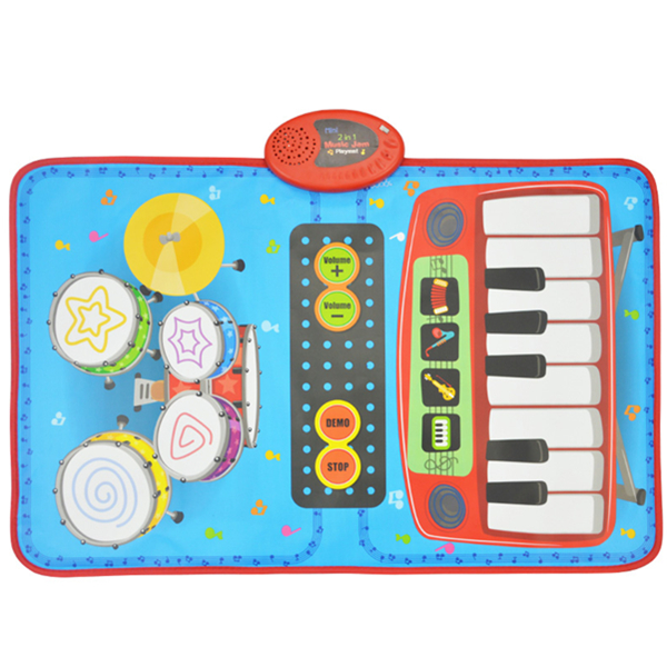 2 in 1 Music Jam Playmat, Electronic Drum Mat and Piano Mat