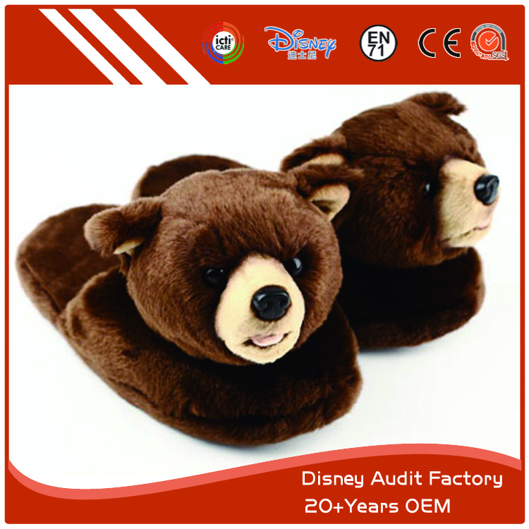 Plush Black Bear Indoor Slippers, 20-25CM, 100% PP Cotton