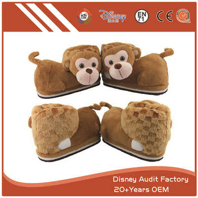 Plush Monkey Slippers Filling 100% PP Cotton Super Comfortable