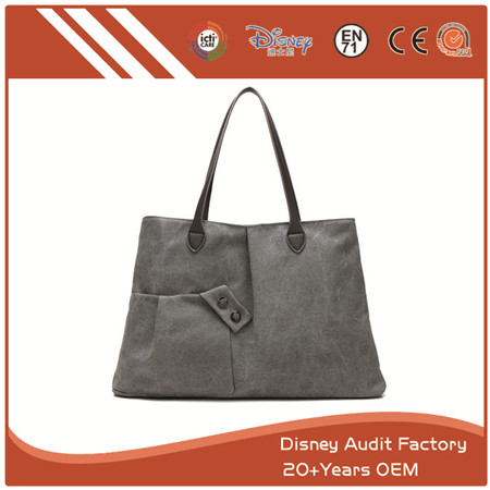 Black Canvas Handbag, PU/Canvas/Cotton/Polyester Materials