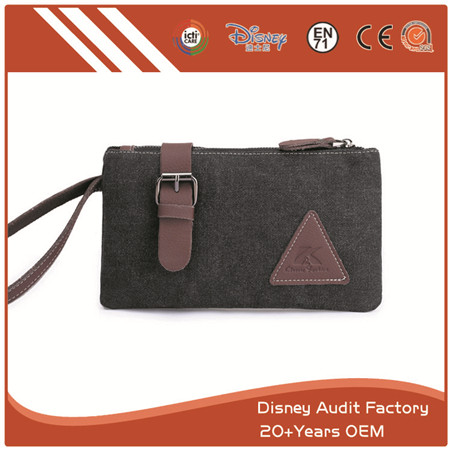 Clutch Bag, Canvas, Stain-resistance, with Strap & Zipper, Black