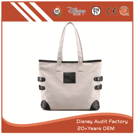 Concealed Carry Purse, Casual Shopping Bags, Leather, White & Black
