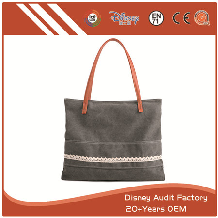 Grey Canvas Handbag, Special Design with Different Materials