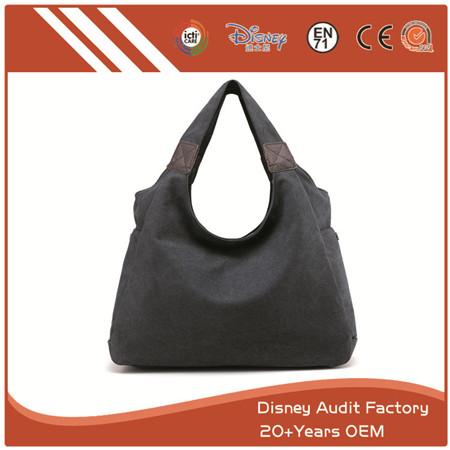 Hobo Bags, Wide Shoulder Straps, Canvas, Modern Fashion, Black