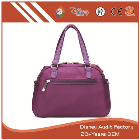 Purple Polyester Handbag, Can Be Made of PU, Canvas, Cotton