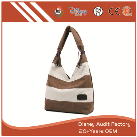 Strip Canvas Handbag, Can Also Be Made of PU, Cotton and Polyester