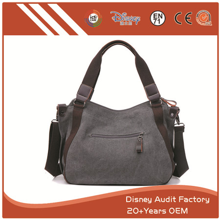 Women Canvas Tote Handbags, Grey, Can Be Made of Other Materials