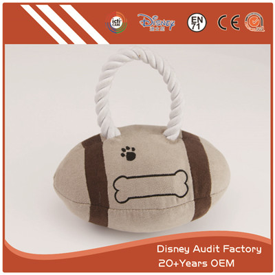 Plush Rugby Pet Bite Toys Fashion Embroidery Designs Pattern Custom