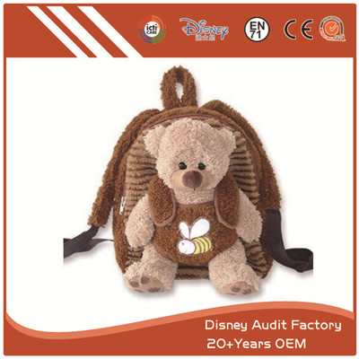 Cute Bear Child Backpack Art Embroidery Designs Gray