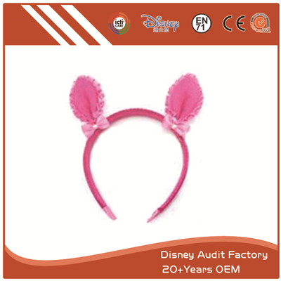 Plush Pink Deer Ears Headband Printing Pattern