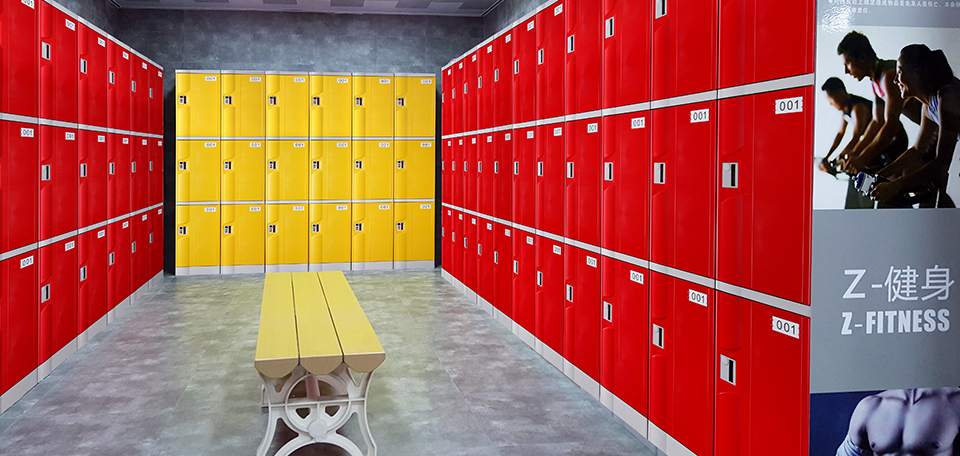 T-320M-50 used as gym lockers with customized elevated base