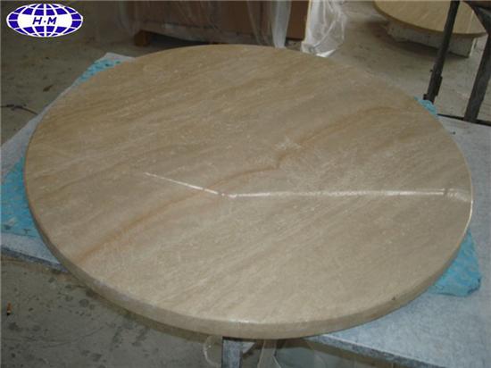 Beige Travertine Table Top Supplier Round Stone