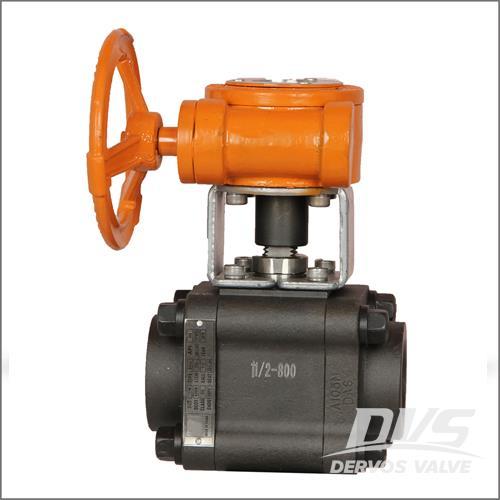 3件式齿轮箱球阀,ASTM A105N,1 1/2英寸,800级