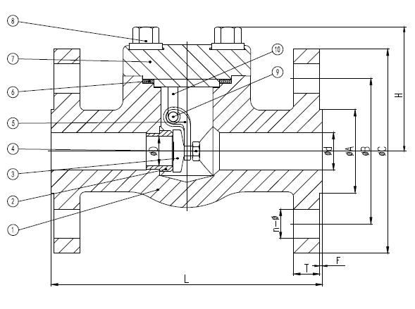 不锈钢旋启式止回阀,nps1 /2, 150lb, RF法兰