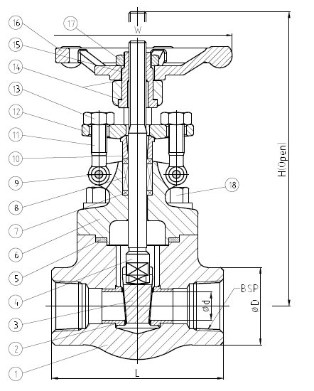 ISO 15761 BSP门阀,A182 F51,NPS 1-2,800 LB,ASME B16.34