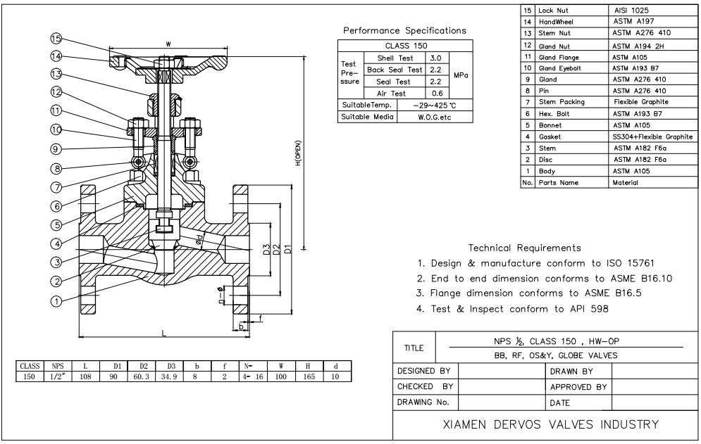 ISO 15761锻造阀门,1/2英寸,150磅,RF,整体座椅
