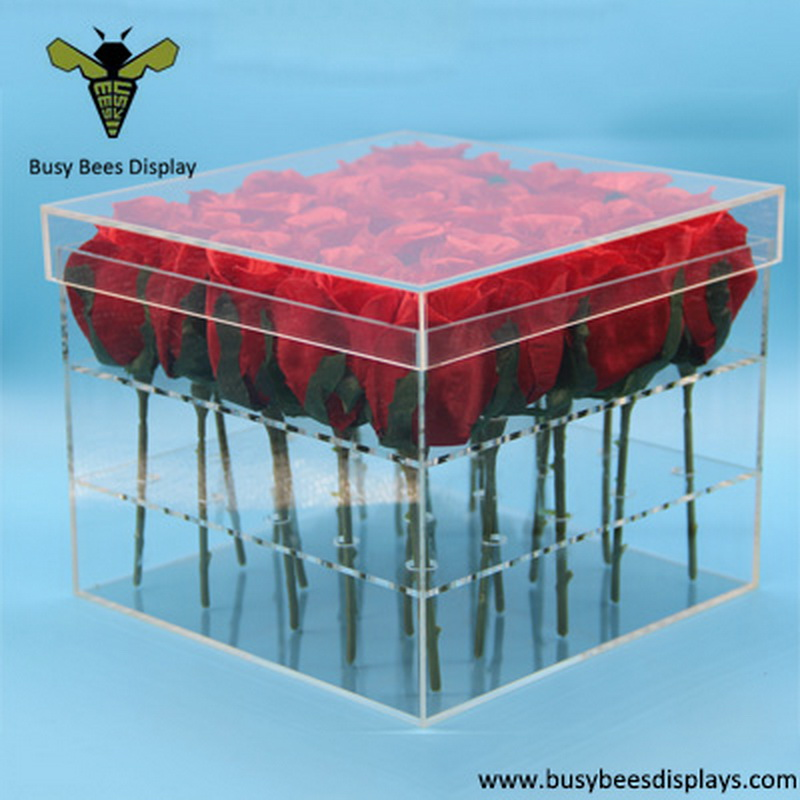 24 Hole Acrylic Flower Box Water Holder Vase Busy Bees