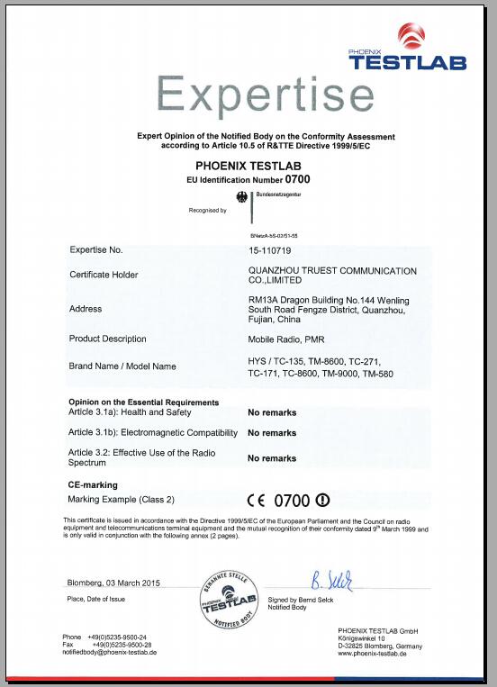 HYS TC-135 CE Certificate