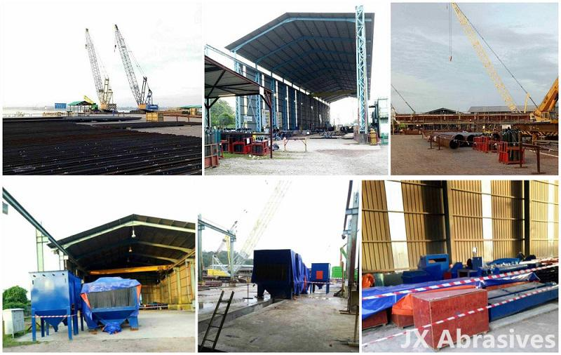 Roller Conveyor Shot Blasting Machine for Harbour Project in Malaysia