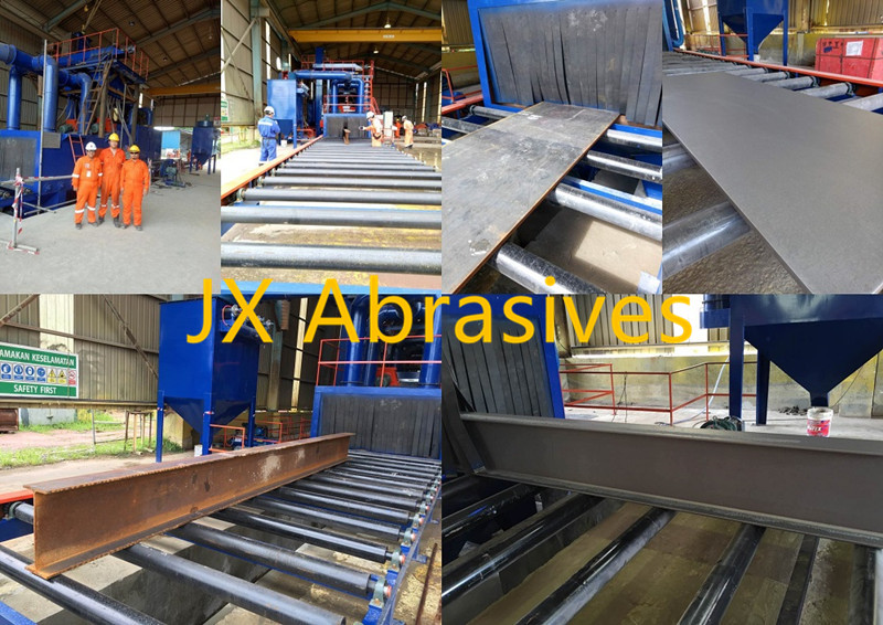 JX Roller Conveyor Shot Blasting Machine for Harbor Project Installation Case