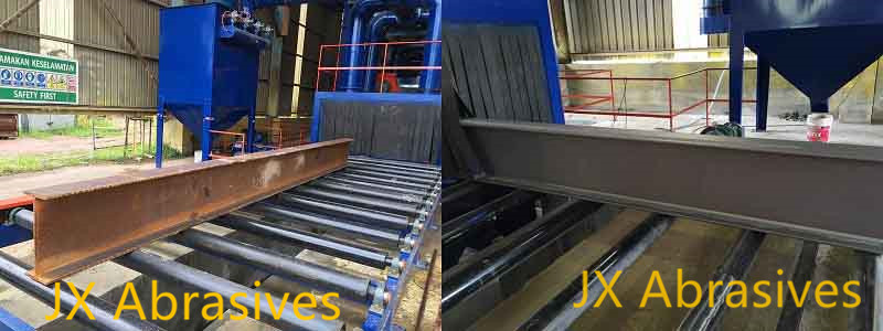 H beam shot blasting machine before and after