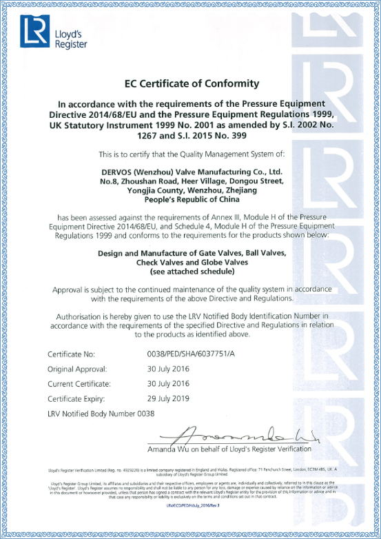CE Certificate of Conformity 0038/PED/SHA/6037751/A