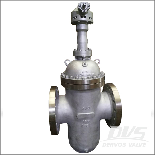 CF3M Gate Valve, DIN 3352, DN350, PN100, RF, Gear Operation