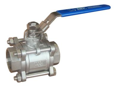 1000 PSI Ball Valve, ASTM A351 CF8M, DN20, Stem SS316