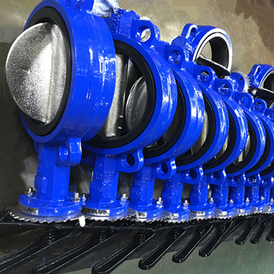 Ductile Iron Wafer Butterfly Valve, PN16, DN200, Flanged RF End