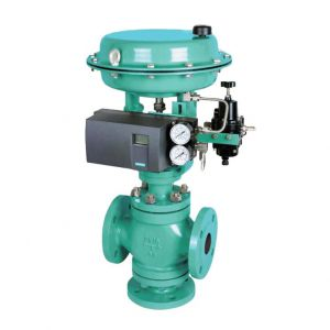 Pneumatic Cage Guided Three Way Globe Control Valve, 16 Inch, 300 LB