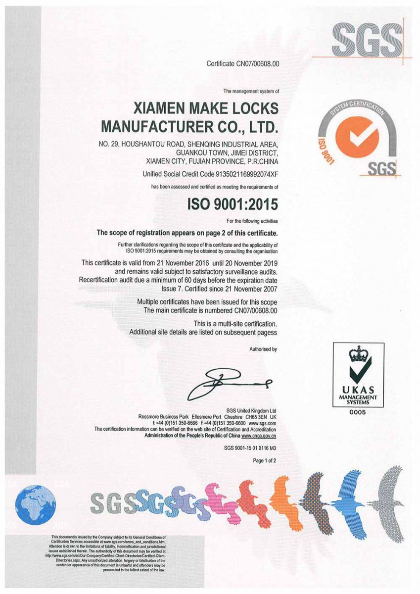 Make Locks ISO 9001:2015 Certificate