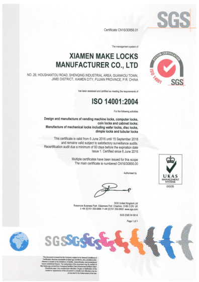 Make Locks ISO 14001:2004 Certificate