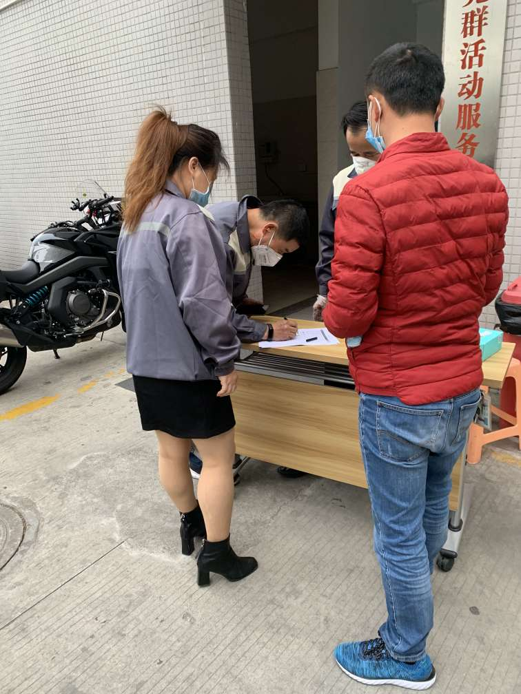 Taking a temperature detection and disinfection and registering before entering the dormitory.