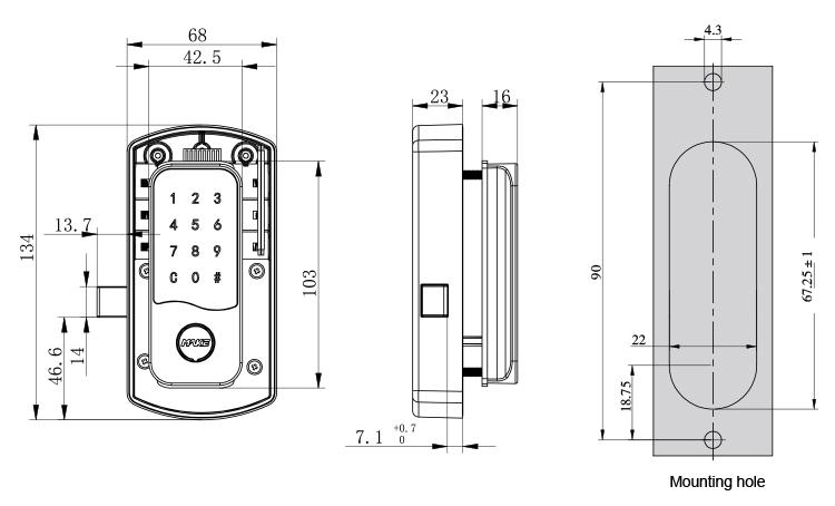 Keypad locker lock MK733 Drawing