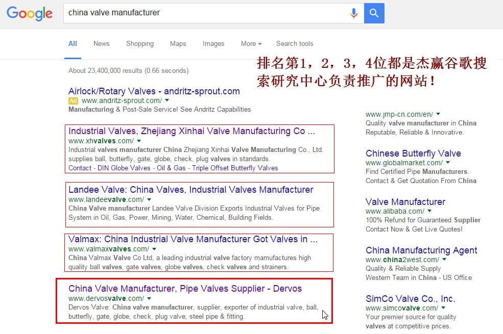 China valve manufacturer 谷歌排名