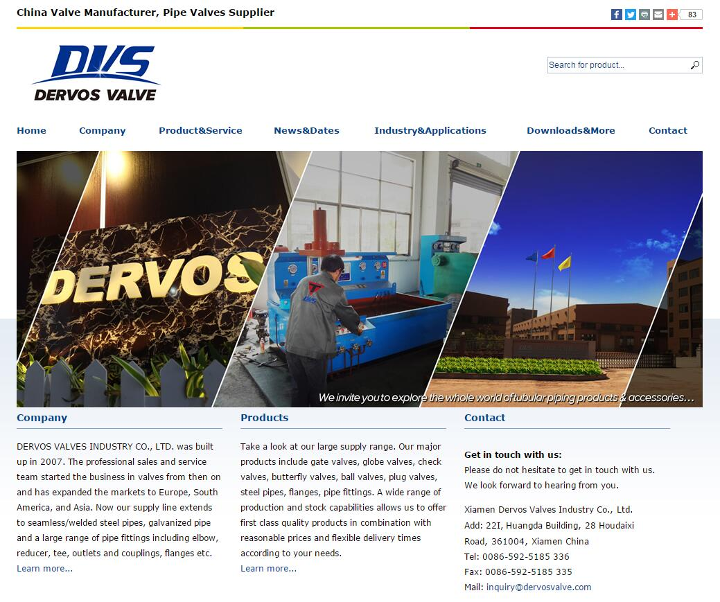 Dervos Valve 英文网站首页截图