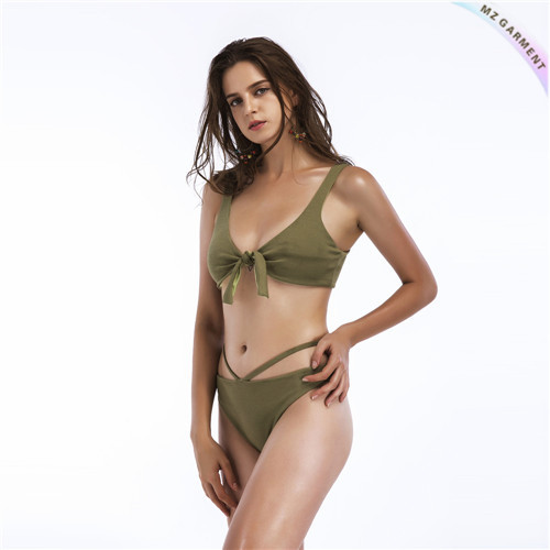Custom Knot Front Swimsuit, Cut Out Side Bottom, Blue, Bronzing