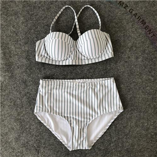 High Waisted Bikini, Nylon, Spandex, Pinstripe, Fresh, White & Green