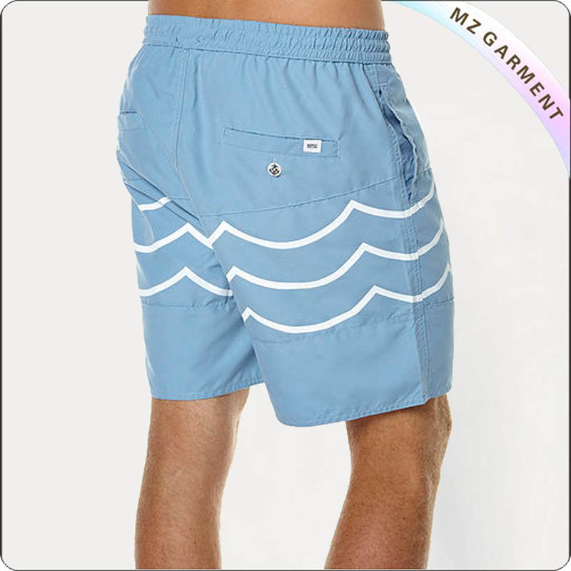 Bule & White Wave Men's Boardshorts