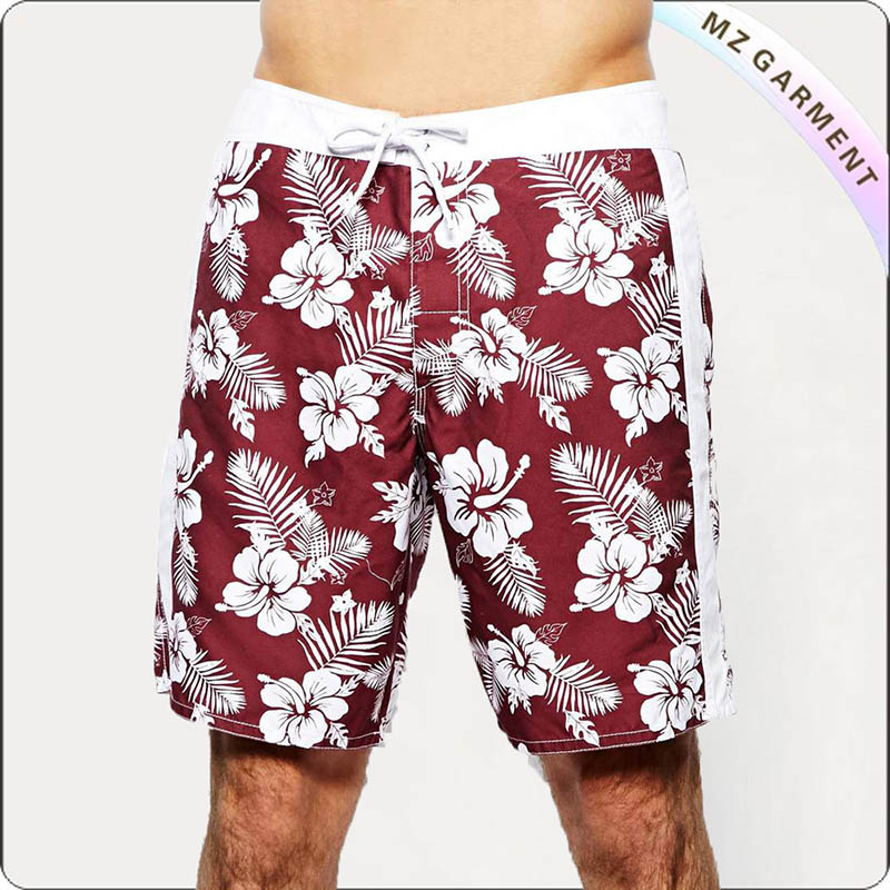 Hibiscus Print Red Boardshorts