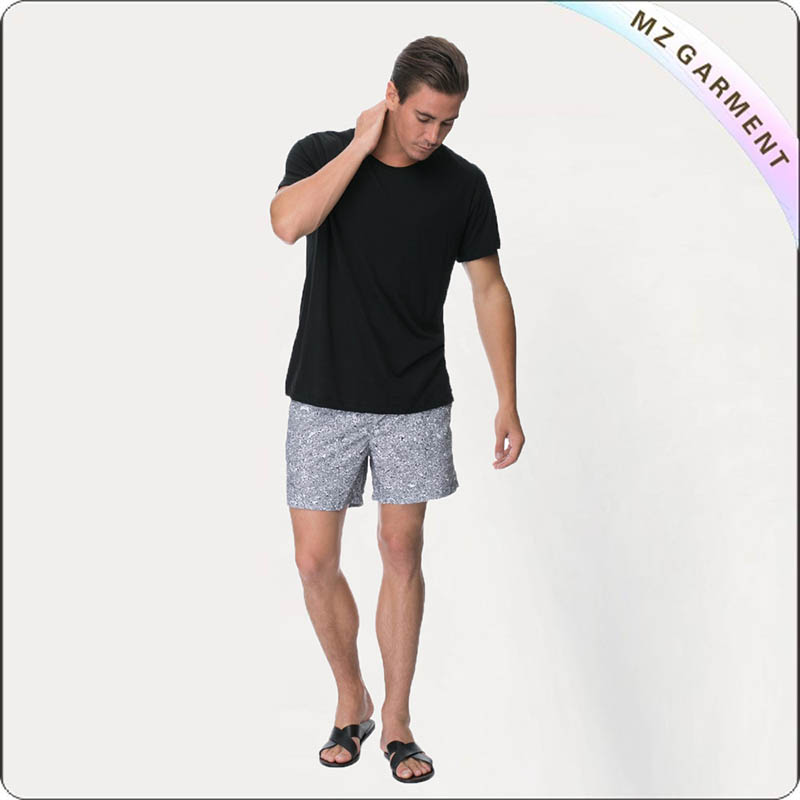 Men's Grey Solid Swim Bosrd Shorts