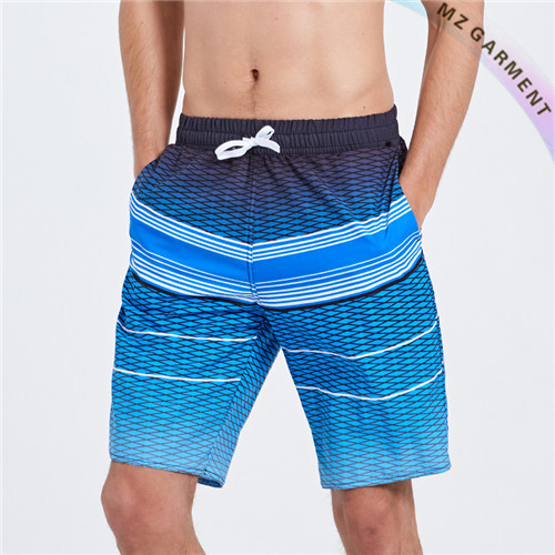 Polyester Board Shorts Custom, Stripe, Light-weight, Gradient Blue